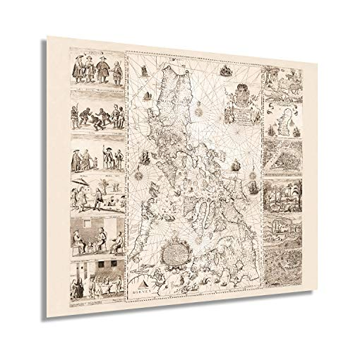 HISTORIX Vintage 1734 Map of the Philippines - 20x24 Inch Philippines Wall Art - Filipino Art Wall Decor - Philippines Poster - Carta Hydrographica y Chorographica de las Islas Filipinas (2 Sizes)