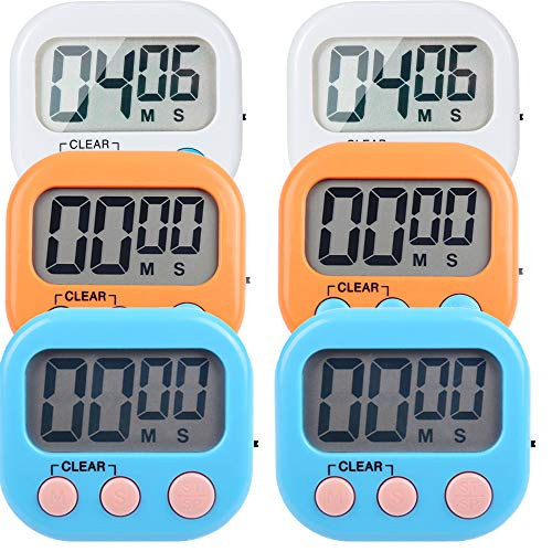 6 Pack Small Digital Kitchen Timer Magnetic Back and ON/Off Switch,Minute Second Count Up Countdown (Multicolored)