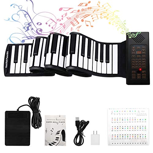 88 Keys Roll Up Piano with Pedal Upgraded Numeric Portable Piano Sticker Keyboard for Kids Beginner