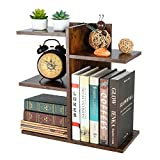 PAG Wood Desktop Shelf Small Bookshelf Assembled Countertop Bookcase Literature Holder Accessories Display Rack Office Supplies Desk Organizer, Antique Brown