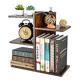 PAG Wood Desktop Shelf Small Bookshelf Desk Supplies Organizers and Accessories Storage Display Rack Office Decor for Women, Antique Brown
