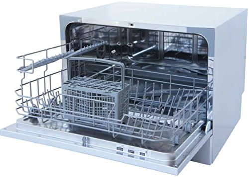 SPT SD-2224DS Compact Countertop Dishwasher with Delay Start - Energy Star Portable Dishwasher with Stainless Steel Interior and 6 Place Settings Rack Silverware Basket for Apartment Office And Home Kitchen, Silver