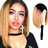 Usexy Short Lace Front Human Hair Wigs Ombre Brown Color Two Tone #1B/27 Straight Bob Wigs For Black Women Brazilian Virgin Hair Lace Wig Middle Part 130% Density 12 Inch