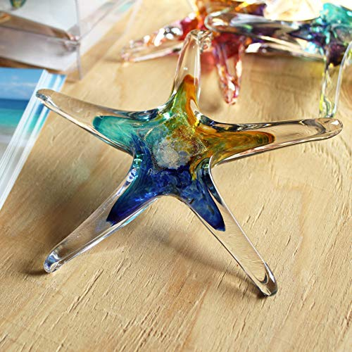 Luke Adams Glass   5' Small Glass Star   Handmade Suncatcher   Hanging Starfish Home Décor   Outdoor Garden Accent (Blue Teal Amber)