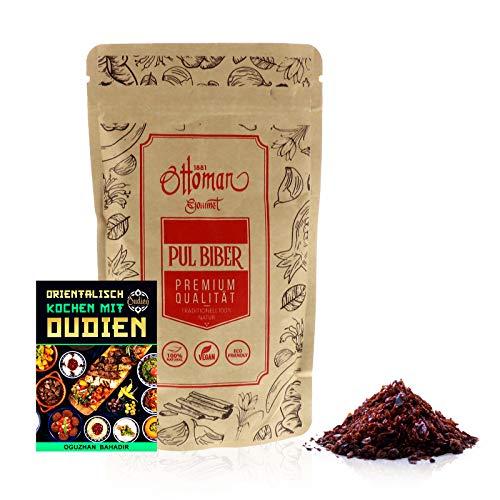 OUDIEN Pul Biber von Ottoman, getrocknete Paprikaflocken 200g, Gewürzmischung Paprika scharf inkl. E-Book mit 20 leckeren Rezepten