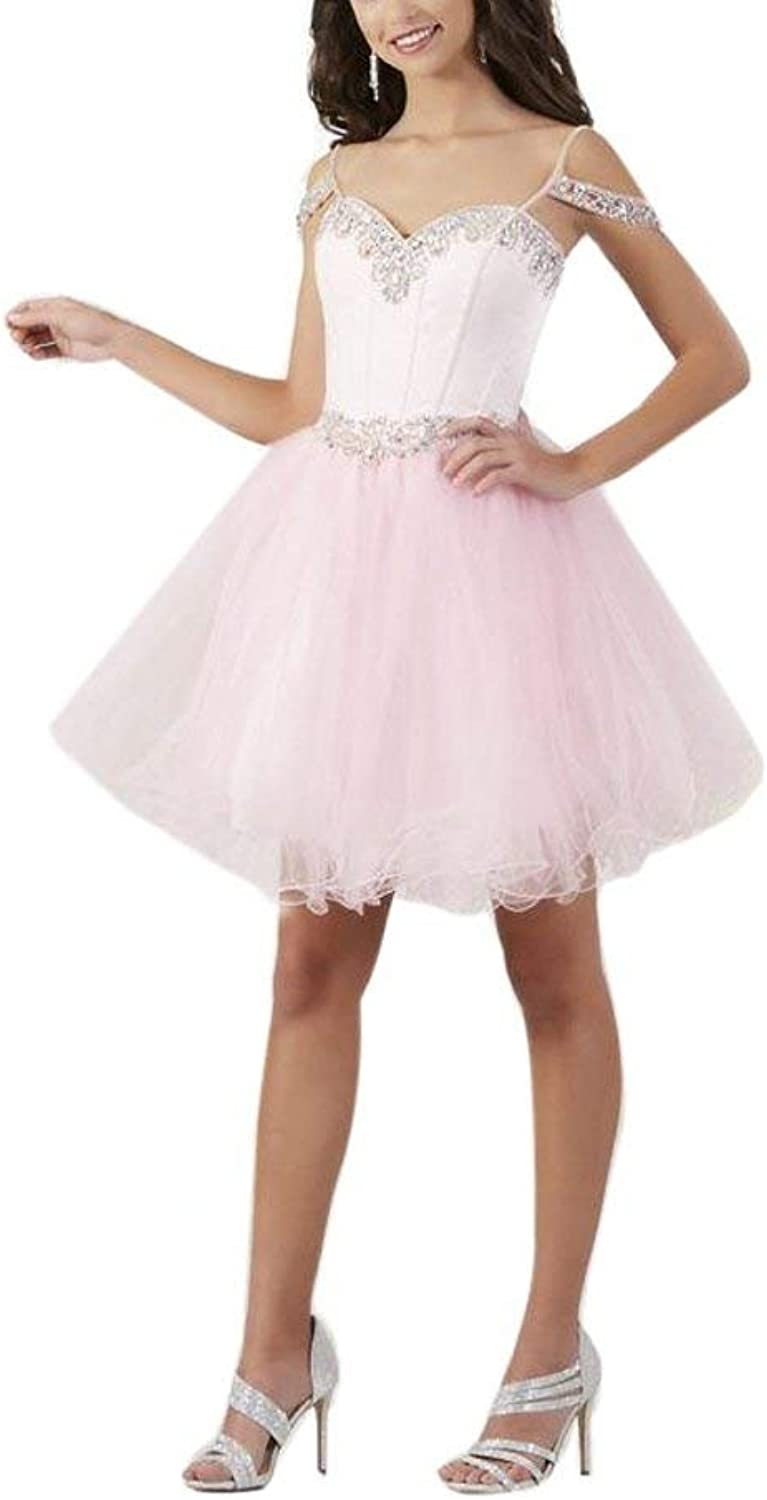 DressyMe Women's Off The Shoulder Prom Party Dresses Short Tulle Crystals