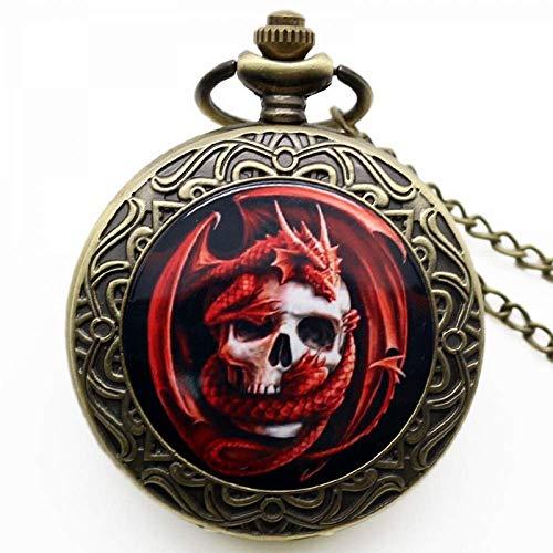 Reloj de Bolsillo, Reloj Punk Skull Colgante Muerte Diseño Motorista Skull Charm Joyería Estilo gótico Reloj de Cuarzo Reloj de Bolsillo (Color : Red Dragon Skull)