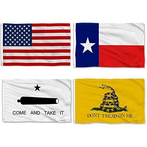 COOME 4 Pieces Texas State Flag 3x5 Feet American US Flag Combo Pack, Don't Tread on Me Flag, Come and Take It Flag - Printed, Indoor/Outdoor, Vibrant Colors, Brass Grommets, Quality Polyester