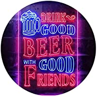 Drink Good Beer with Good Friends Bar Dual Color LED看板 ネオンプレート サイン 標識 青色 + 赤色 210 x 300mm st6s23-i3416-br