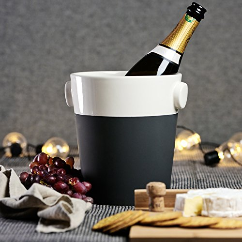 Magisso Selbst abkühlende Champagnerkühler, Keramik, schwarz/weiß, 18.9 x 18.9 x 22 cm