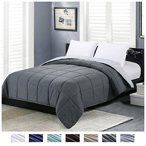 Homelike Moment Reversible Lightweight Comforter - All Season Down Alternative Comforter Queen Summer Duvet Insert Grey Quilted Bed Comforters with...