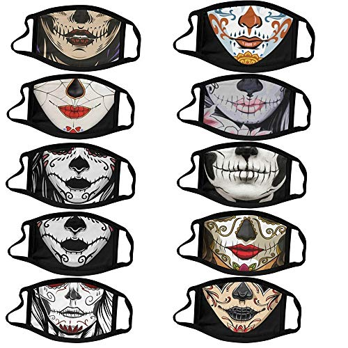 Sayingning Skeleton Pattern Face_Mask Mouth Protective for Adults Anti-Dust Fashion Scary Halloween Party Ear Loop Face Bandana Reusable & Washable (10 Pack)
