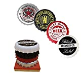 Uwoll Coasters for Drinks Original Beer Bottle Cap Coaster for Any Table Type Housewarming Gifts for Any Size of Drinking Glasses Music Lovers Bar Mats for Countertop Set of 4