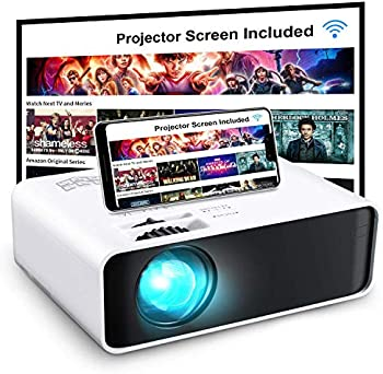 GooDee WiFi Mini 720p LED Projector with Projector Screen