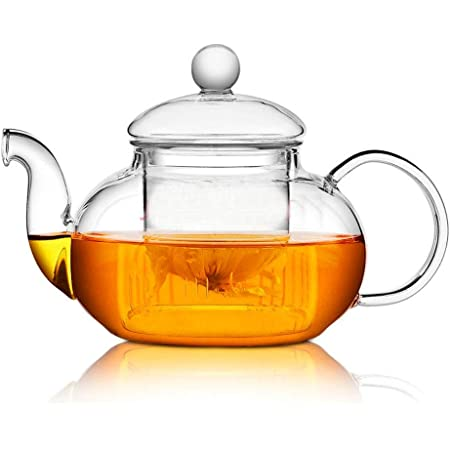 Clear Glass Teapot with Infuser for Loose Leaf Tea 800ml Oval Vintage Pot