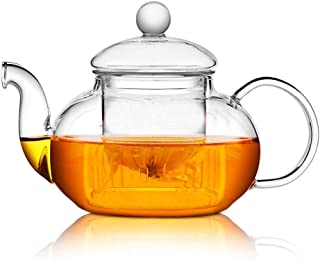 Glass Teapot 27oz With Infuser,Heat Resistant Borosilicate Pot for Loose Tea, Bagged and Flowering Teas (800ml)