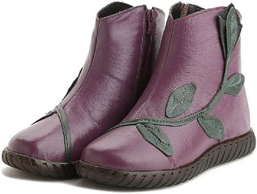 ZHRUI Stiefel de patrón de damen schuhe de Forro de Piel Suave Plano Vintage (Farbe   lila, tamaño   EU 38)