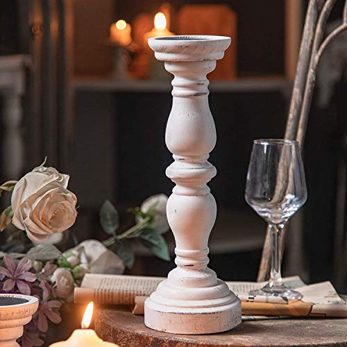 White Candle Holders for Pillar Candles, Vintage Wooden Candle Holders Pillar, Farmhouse Candle Holders for Candlesticks, Traditional Style Accent Decor, Gift for Home (1Piece, 5.5' x 5.5' x 18.3')