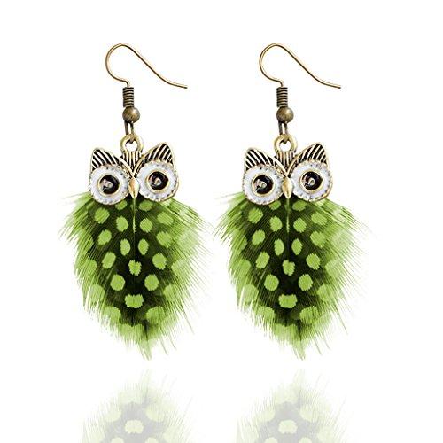 Babysbreath Multi couche Colour Peacock Feather Owl Shape Fishhook Drop Earrings For Women vert
