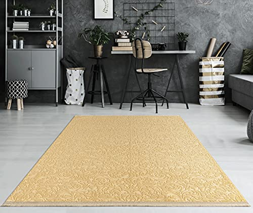 Daphne Alfombra moderna de pelo corto, lavable, efecto 3D, parte inferior antideslizante, diseño floral, dorado, 150 x 220 cm