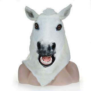 GOBUY-Halloween Mask Festive Party Supplies Simulation Animal Headgear Plush White Horse Mask Can Move Mouth Singing Masqu...