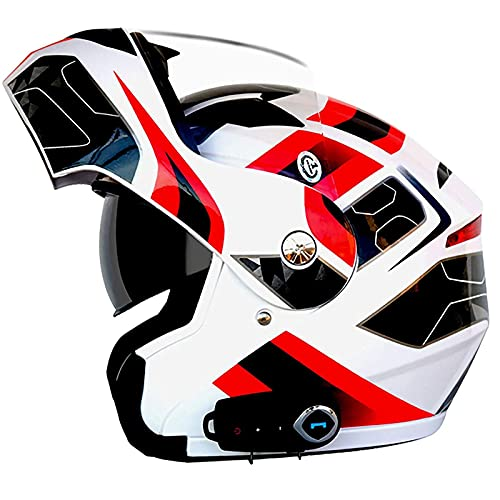 Casco de motocicleta con Bluetooth, cascos de motocicleta abatibles de cara completa unisex, diseño de forro Abs Shell + Eps, diseño de doble visera que puede bloquear eficazmente la luz fuerte