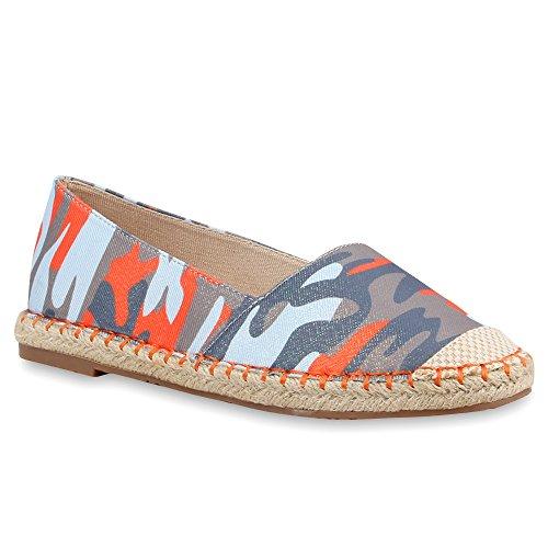 stiefelparadies Damen Schuhe Freizeit Slipper Espadrilles Blumen Bunte Flats Stoff Bast 68710 Rot Camouflage Bast 39 Flandell