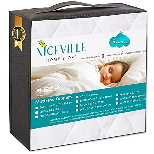 NICEVILLE® Mattress Topper Double Washable, 5 cm Quilted Soft,...
