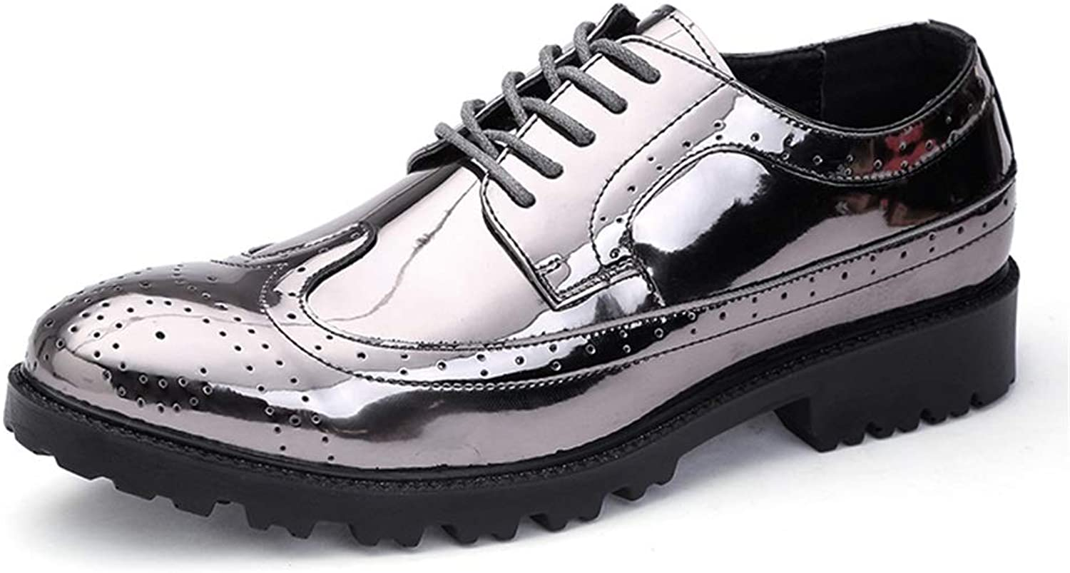 Patent leather Men's Business Oxford Casual Classic Breathable Strap Carved British Style Brogue Patent Leather Large Size shoes Wingtip Formal wear Wingtip (color   Silver, Size   9.5 UK)