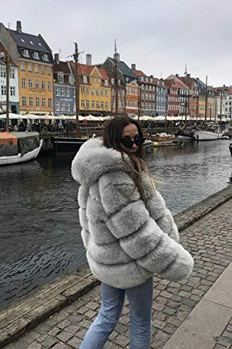 Modische Damen Pelzmantel Winter warme Plüschmantel weiche Pelzmantel Damen dicken Kunstpelzmantel Plus Größe-Grau_M.