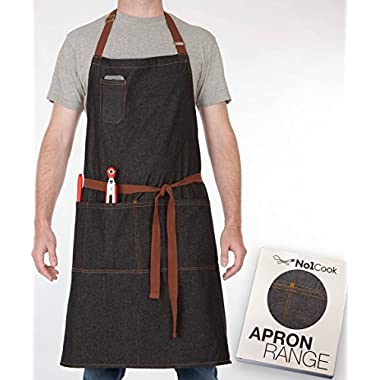 No1Cook Chef Apron by Durable cotton denim apron with pockets for men and women. Modern design – suitable for barista apron, cooking apron, plus size apron, grilling apron and kitchen apron.