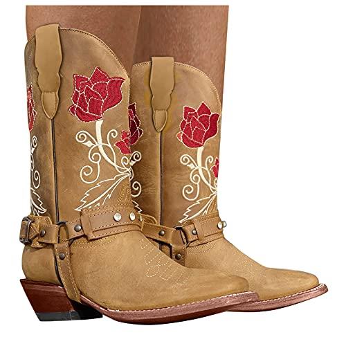 Damen Cowboystiefel mit Trichterabsatz Stickereien Stiefeletten damen Biker Boots Combat Stiefel Vintage Biker Boots Retro Kurzschaft westernstiefel Chelsea Boots Cowboy Stiefel mit Blockabsatz
