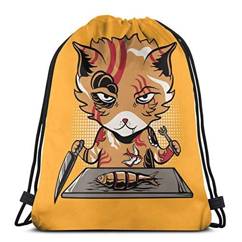 ghjkuyt412 Yakuza Cat Eating Fish Vector Image 3D Print Drawstring Backpack Rucksack Shoulder Bags Sports Gym Bag for Adult 16.9