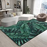 9CH Tropical Palm Leaves Rug Watercolor Palm Tree Leaves in Hawaiian Style Area Rugs Non-Slip Carpet for Living Room Bedroom Home Decorative 7' x 5'
