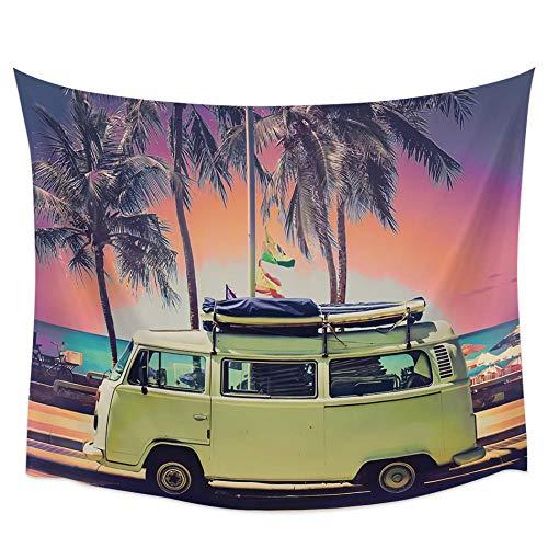 KJKL Verano Anochecer Atardecer Playa Autobús Tropical Cocotero Tapiz De Pared Cubierta Toalla De Playa Picnic Estera De Yoga Decoración del Hogar