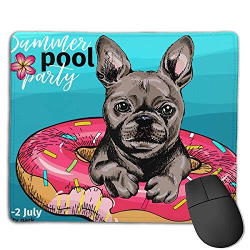 Porträt Französische Bulldogge Hund Schwimmen Tiere Wildlife Mouse Mat Niedliches Mauspad Gummibasis Mousepad mit genähter Kante Wasserdichtes Büromauspad