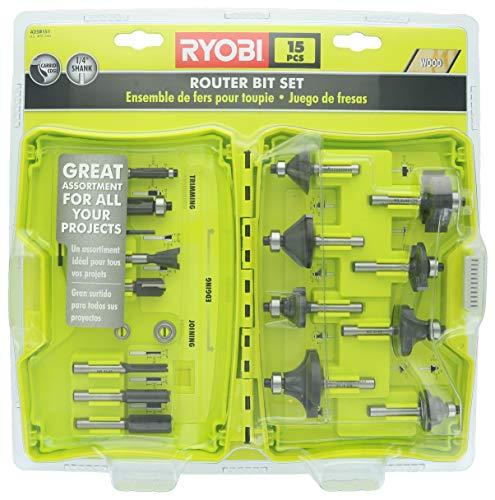 Ryobi A25R151 15 Piece 1/4 Inch Shank Carbide Edge Router Bit Set for Wood