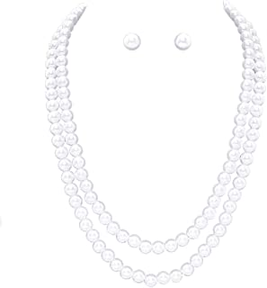 """Rosemarie Collections Women's Double Strand Classic Simulated Pearl Necklace and Earring Jewelry Set, 20""""+ 2.5"""" Extender"""