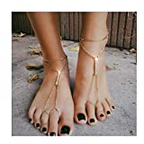 Blufly 2PC Layered Crystal Anklets Gold Rhinestone Bar Ankle Bracelet Foot Chain Boho Toe Ring Beach Anklets Barefoot Sandals Decorative Jewelry for Women and Girls