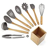NEXGADGET Premium 9-Piece Silicone Kitchen Utensils Set Including Food Tongs, Scrapers, Serving Spoon, Slotted Turner, Spaghetti Server, Egg Whisk, Slotted Spoon, Soup Ladle and Bamboo Holder