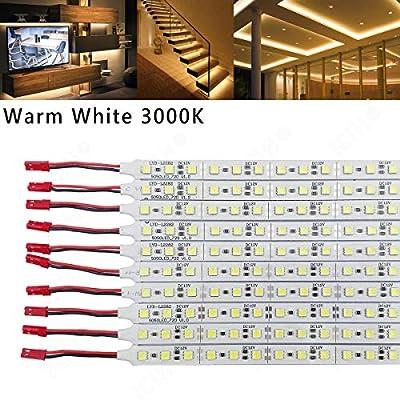 ICIH (Pack-10) Aluminum Rigid Hard LED Strip Light Soft Warm White 3000K SMD5050 12V LED 36LED/0.5M/7W Super Bright Led Bar with Import Stronger Stickiness Double Sided Adhesive Tape IH-LRS-5050WW