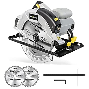 Circular Saw ENVENTOR 5800RPM Skill Saw with Laser Guide 1200W 10Amp Corded Circular Saws 7-1/4-Inch Blades 24T+ 40T  Max Cutting Depth 2-7/16  90°  1-13/16  0°-45°  Ideal for Wood Logs Cuts