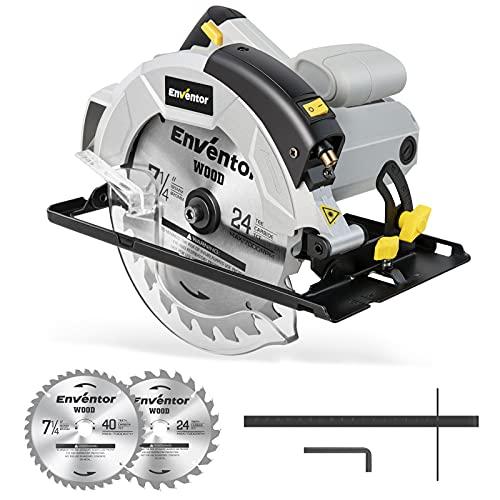 Circular Saw, ENVENTOR 5800RPM Skill Saw with Laser Guide, 1200W 10Amp Corded Circular Saws, 7-1/4-Inch Blades(24T+ 40T) Max Cutting Depth 2-7/16