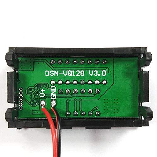 Fácil de montar 3pcs LED rojo Capacidad de plomo ácido coche 12-60V carga de la batería Indicador de nivel de batería del probador de la batería de litio Medidor dual probador del voltímetro digital c