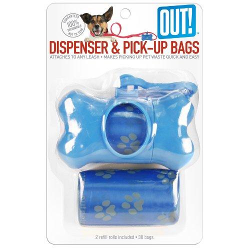 Out! Dispensador de huesos para perros con 30 bolsas de recogida de residuos, color azul