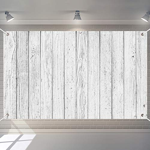 White and Gray Wooden Backdrop Retro Rustic Vintage Wood Background for Photo Studio Props Party Decoration Photography