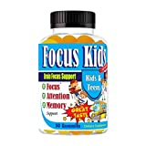 Focus Kids for Attention Focus Memory & Concentration Brain Gummies for Attention and Focus for Kids and Teens, Focus Vitamins Kids Brain Supplement DHA Omega 3 6 9 School Study Task Booster Formula