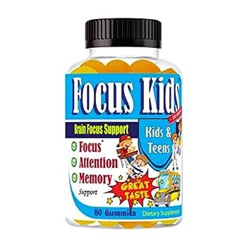 Focus Kids Focus Memory & Concentration Brain Gummies for Focus for Kids and Teens Focus Vitamins Kids Brain Supplement DHA Omega 3 6 9 School Study Task Booster Formula