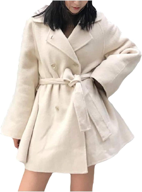 Coolhere Women Slim Jacket DoubleBreasted Belt Woolen Lapel Coat Overcoat