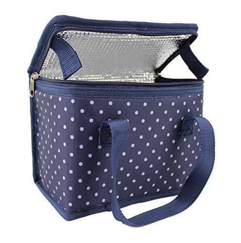 Sac Repas Lunch Bag Sac à Déjeuner Sac Fraîcheur Portable Isotherme Points Bleus 22cm X 16cm X 12cm